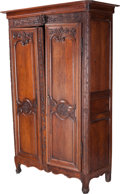 Furniture : French, A French Provincial Carved Oak Armoire, early 19th century. 92-1/2h x 57 w x 25 d inches (235.0 x 144.8 x 63.5 cm). PROPE...