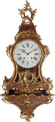 A Louis XV-Style Painted and Gilt-Bronze Mounted Bracket Clock with Floral Motif, late 18th-19th century Marks: