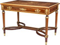 Furniture , A Louis XVI-Style Gilt Bronze Mounted Rosewood, Mahogany, Walnut, and Fruitwood Marquetry Bureau Plat, 20th century. 29-1/2 ...