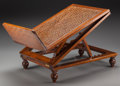 Furniture , An English Caned Walnut Gout Stool, 19th century. 22-1/2 h x 15 w x 27 d inches (57.2 x 38.1 x 68.6 cm) (fully extended). ...