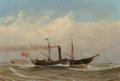 "Fine Art - Painting, European:Antique  (Pre 1900), William Clark (British, 1803-1883). The paddle steamer ""Arab""off Greenock, Strathclyde, 1837. Oil on canvas. 15 x 22 in..."