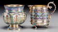 Silver Holloware, Continental, A Russian Gilt Silver and Enamel Sugar Bowl with Marius HammerCreamer, 19th-20th centuries. Marks to sugar: AC/1875, 91 ...(Total: 2 Items)
