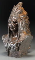 Fine Art - Sculpture, American:Antique (Pre 1900), Theodore Baur (American, 1835-1894). Bust of an IndianChief, 1889. Bronze with brown patina. 18-1/2 inches (47 cm)high...