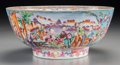 Asian:China Trade, A Chinese Export Famille Rose Porcelain Punch Bowl. 4-1/2 incheshigh x 10-1/4 inches diameter (11.4 x 26.0 cm). ...