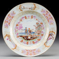Asian:China Trade, A Chinese Export Famille Rose Porcelain Dish: WesternFishermen, Qianlong. 9 inches diameter (22.9 cm). ...