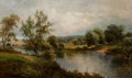 Paintings, David Payne (British, 1843-1891). River Landscape. Oil on canvas. 18 x 30 inches (45.7 x 76.2 cm). Signed lower left: ...