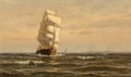 Fine Art - Painting, American:Antique  (Pre 1900), William Edward Norton (American, 1843-1916). Frigate at FullSail. Oil on canvas. 12 x 20 inches (30.5 x 50.8 cm). Signe...