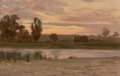 Fine Art - Painting, American:Modern  (1900 1949)  , Thomas Jr. Allen (American, 1849-1924). Dawn on ShelterIsland. Oil on canvas. 11-1/2 x 18 inches (29.2 x 45.7 cm).Sign...