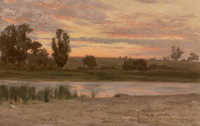 Thomas Jr. Allen (American, 1849-1924) Dawn on Shelter Island Oil on canvas 11-1/2 x 18 inches (2