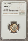 Roosevelt Dimes, 1951-D 10C MS66 Full Bands NGC. NGC Census: (278/76). PCGS Population: (390/92). Mintage 56,529,000. ...