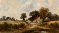 Fine Art - Painting, European:Antique  (Pre 1900), James Edwin Meadows (British, 1828-1888). A Country Lane,1865. Oil on canvas. 18 x 32 inches (45.7 x 81.3 cm). Signed a...