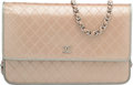 "Luxury Accessories:Bags, Chanel Metallic Gold Embossed Leather Wallet on Chain Bag.Pristine Condition. 7.75"" Width x 5"" Height x 1.5""Depth..."