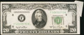Error Notes:Attached Tabs, Fr. 2059-F $20 1950 Federal Reserve Note. Very Fine.. ...