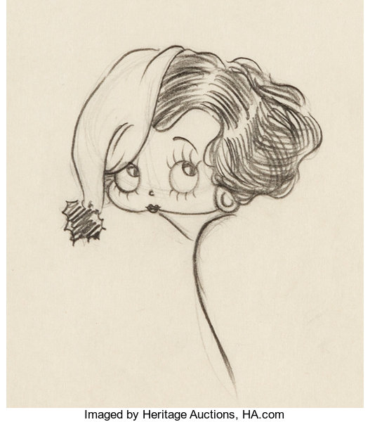 Betty Boop Concept Drawing Max Fleischer c 1930s Animation