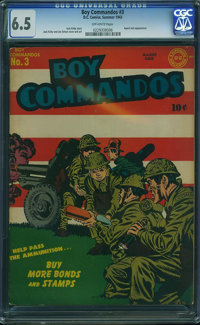 Boy Commandos #3 (DC, 1943) CGC FN+ 6.5 Off-white pages