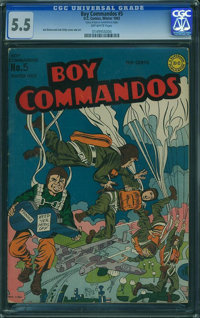 Boy Commandos #5 (DC, 1943) CGC FN- 5.5 Off-white pages