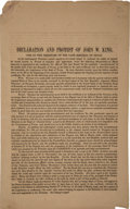 Miscellaneous:Broadside, Debt of the Late Republic: Declaration and Protest of John W.King....