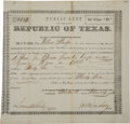 Miscellaneous, [Mexican Invasions of 1842]. Public Debt of the Late Republic ofTexas Certificate Issued to William Menifee....