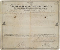 Governor P. H. Bell Signed Land Grant