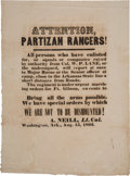 "Miscellaneous:Broadside, Civil War Broadside: ""Attention, Partizan Rancers[sic]!"" ..."