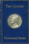 Lincoln, Lincoln Birth Centennial Medal by Jules Edouard Roine. King-309,Cunningham-11-160C. Housed within a book, The Lincoln Cen...