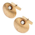 Estate Jewelry:Cufflinks, Diamond, Gold Cuff Links. . ... (Total: 2 Items)