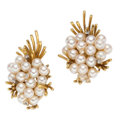 Estate Jewelry:Earrings, Cultured Pearl, Diamond, Gold Earrings. . ... (Total: 2 Items)