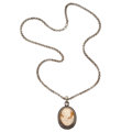 Estate Jewelry:Pendants and Lockets, Shell Cameo, Sterling Silver, Silver Pendant-Necklace. . ...