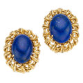 Estate Jewelry:Earrings, Lapis Lazuli, Gold Earrings. . ... (Total: 2 Items)