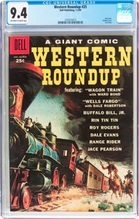 Dell Giant Comics Western Roundup #25 (Dell, 1959) CGC NM 9.4 Off-white to white pages