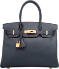 Luxury Accessories:Bags, Hermes Limited Edition 30cm Blue Marine Epsom Leather ContourBirkin Bag with Gold Hardware. T, 2015. PristineConditi...