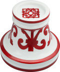 "Luxury Accessories:Home, Hermes Red & White Balcon du Guadalquivir Limoges PorcelainCandlestick Holder. Excellent Condition. 6"" Width x 5"" Height..."