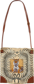 """Luxury Accessories:Bags, Hermes Barenia Leather & Yellow and Green Silk """"Tigre Royal,""""by Christiane Vauzelles Silky City Bag with Gold Hardware.M..."""