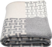 """Hermes Ecru, Gris Clair & Natural Wool and Cashmere Avalon Terre d'H Blanket Pristine Condition 53"""" Width x"""