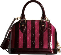 Louis Vuitton Black & Red Monogram Rayures Vernis Leather Alma BB Bag Excellent to Pristine Condition