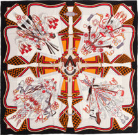 "Hermes 140cm Black, White & Red ""Bouquets Selliers,"" by Pierre Marie Silk and Cashmere Scarf Pristine Cond..."