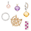 Estate Jewelry:Pendants and Lockets, Diamond, Multi-Stone, Half-Pearl, Gold Pendants. . ... (Total: 6Items)