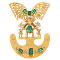 Estate Jewelry:Brooches - Pins, Emerald, Gold Brooch. . ...