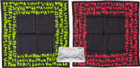 Louis Vuitton Set of Three; Stephen Sprouse Graffiti Scarves and a Silver Monogram Miroir Cosmetic Pouch Excell