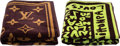 "Luxury Accessories:Accessories, Louis Vuitton Set of Two; Green & Brown Terrycloth Towels.Excellent to Pristine Condition . 37.5"" Width x 59""Length... (Total: 2 Items)"
