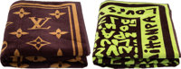 """Louis Vuitton Set of Two; Green & Brown Terrycloth Towels Excellent to Pristine Condition 37.5"""""""