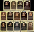 Baseball Collectibles:Others, Baseball Greats Signed Hall of Fame Plaque Postcard Lot of 14....