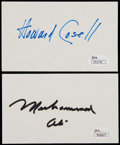 Boxing Collectibles:Autographs, Muhammad Ali and Howard Cosell Signed Index Card Pair (2)....