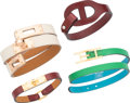 """Luxury Accessories:Accessories, Hermes Set of Four; Calfbox & Swift Leather Bracelets. R Square, 2014. Pristine Condition. 0.25"""" Width x 7"""" Length... (Total: 4 Items)"""