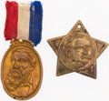 Photography, Grover Cleveland and Benjamin Harrison: Brass and Copper Shell Badges.... (Total: 2 Items)