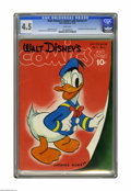 Golden Age (1938-1955):Funny Animal, Walt Disney's Comics and Stories #1 (Dell, 1940) CGC VG+ 4.5 Whitepages. Here is the first issue of one of the longest-runn...