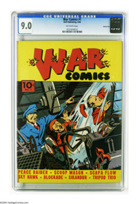 War Comics #1 Carson City pedigree (Dell, 1940) CGC VF/NM 9.0 Off-white pages. This is the very first war comic (i.e. th...