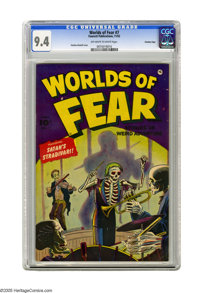 Worlds of Fear #7 Crowley Copy pedigree (Fawcett, 1952) CGC NM 9.4 Off-white to white pages. It's horror and violence...