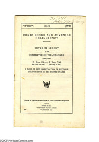 Senate Interim Report on Comic Books and Juvenile Delinquency (U.S. Government Printing Office, 1955) Condition: VG+. He...