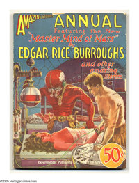 """Amazing Stories Annual #1 (Gernsback, 1927) Condition: VG. Edgar Rice Burroughs' """"Master Mind of Mars"""" is cove..."""